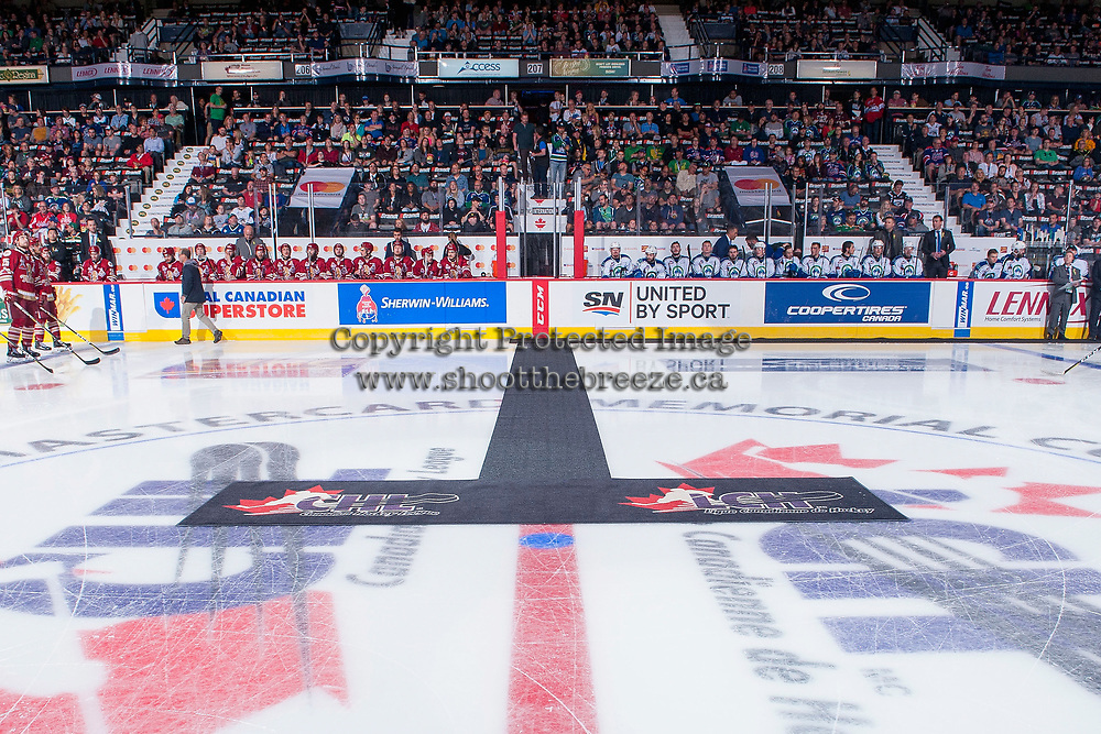 REGINA, SK - MAY 19: Centre Ice at the Brandt Centre on May 19, 2018 in Regina, Canada. (Photo by Marissa Baecker/CHL Images)