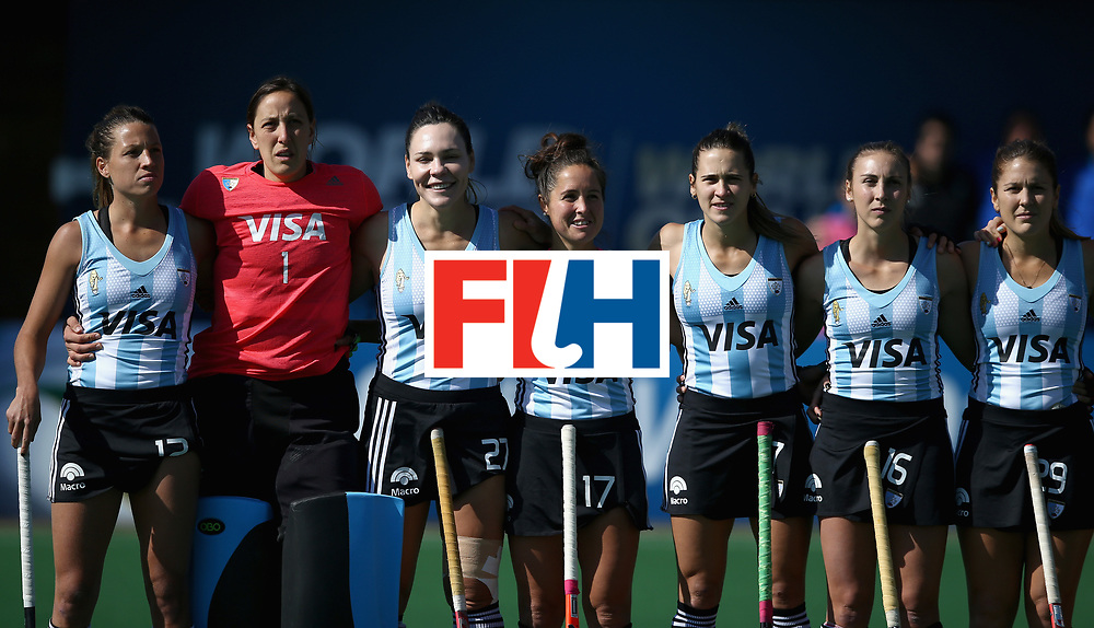 JOHANNESBURG, SOUTH AFRICA - JULY 18: The Argentina team line up prior to the Quarter Final match between Argentina and Ireland during the FIH Hockey World League - Women's Semi Finals on July 18, 2017 in Johannesburg, South Africa.  (Photo by Jan Kruger/Getty Images for FIH)