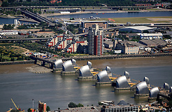 UK ENGLAND LONDON 22JUL08 - Aerial view of the river Thames Barrier in east London during zeppelin flight over the city.<br />