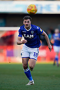 Harry Smith of Macclesfield Town on the attack during the EFL Sky Bet League 2 match between Crawley Town and Macclesfield Town at The People's Pension Stadium, Crawley, England on 23 February 2019.