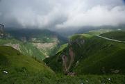 Georgia, Georgian military Highway, landscape S seen near the Russia Georgia Friendship Monument