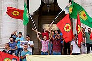 Roma, 21 Luglio 2015<br /> Manifestazione della Rete Kurdistan che ha  protestato davanti Ufficio Cultura dell'Ambasciata di Turchia, dopo un attacco terroristico suicida in Suruc,provocato da una giovanw kamikaze dell'ISis, dove 32 persone sono morte e 100 sono rimaste ferite il 20 luglio 2015.<br /> Rome, Italy. 21st July 2015 <br /> Dozens of people of the Network Kurdistan in Rome,  protested in front  Office  of the Culture of the Embassy of Turkey after a suicide terror attack in Suruc, where 32 people died and 100 are injured on July 20, 2015.