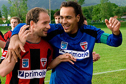 Peter Petran and Dejan Milic of Primorje celebrate after the football match between NK Primorje Ajdovscina and NK Triglav Gorenjska of Second Slovenian football league, on May 16, 2010 in Vipava, Slovenia. Primorje placed first in 2.SNL and qualified for  PrvaLiga in season 2010/2011. (Photo by Urban Urbanc / Sportida)