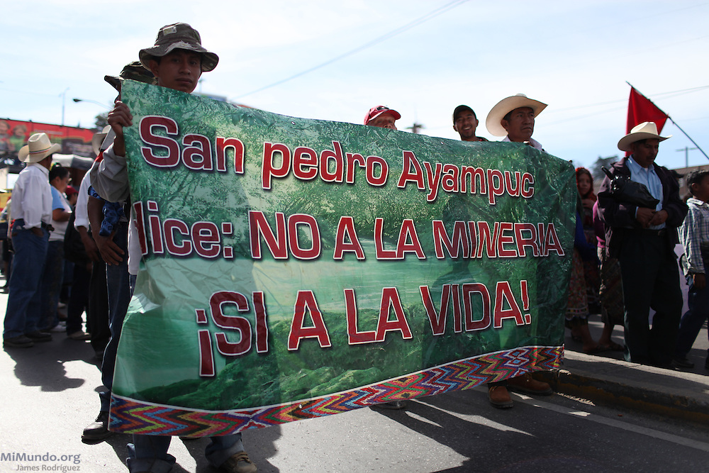 """""""San Pedro Ayampuc says No to Mining, Yes to Life!"""" After 9 days and 212 kilometers, the Indigenous, Campesino and Popular March for the defense of Mother Earth, against evictions, criminalization, and in favor of Integrated Rural Development, arrived to the Capital City. According to members of the Committee for Campesino Unity (CUC), it is estimated that about 15,000 people participated in the ninth and final day of the march."""