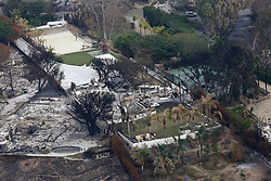 Singer Robin Thicke's Malibu house is seen burnt down by the devastating California wildfires. 19 Nov 2018 Pictured: Aerial view of Robin Thicke's house in Malibu. Photo credit: Rachpoot/MEGA TheMegaAgency.com +1 888 505 6342
