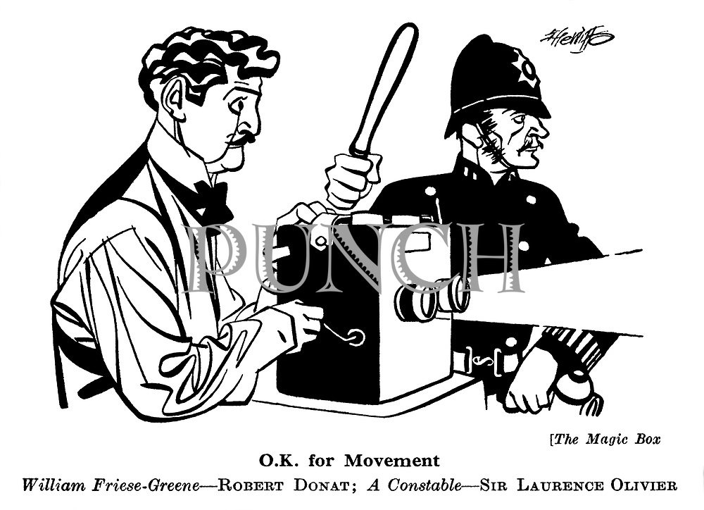 Punch cartoons by Robert Sherriffs..Film Review ; ..The Magic Box : Robert Donat and Sir Laurence Olivier