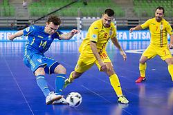 Petro Shoturma of Ukraine and Paulo Ferreira of Romania during futsal match between Romania and Ukraine at Day 4 of UEFA Futsal EURO 2018, on February 2, 2018 in Arena Stozice, Ljubljana, Slovenia. Photo by Urban Urbanc / Sportida