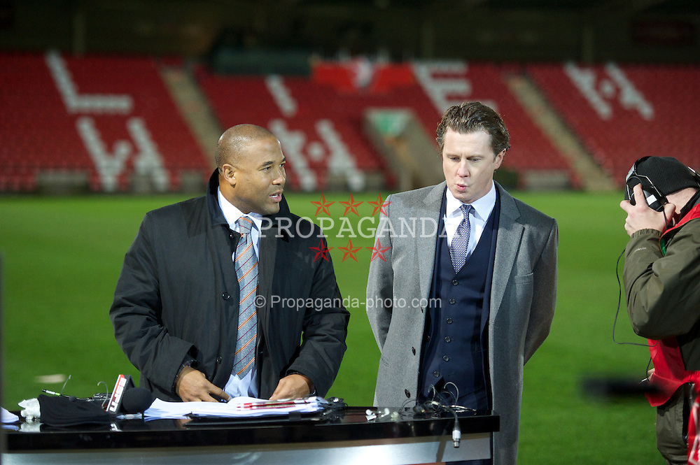 CHELTENHAM, ENGLAND - Monday, January 7, 2013: Former Liverpool and Real Madrid players Steve McManaman and John Barnes working for ESPN before the FA Cup 3rd Round match between Everton and Cheltenham Town at Whaddon Road. (Pic by David Rawcliffe/Propaganda)