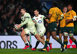 Jonny May of England celebrates scoring a try - Mandatory by-line: Robbie Stephenson/JMP - 18/11/2017 - RUGBY - Twickenham Stadium - London, England - England v Australia - Old Mutual Wealth Series