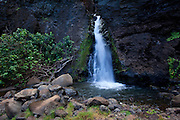Waterfall, Honopu Beach, Napali Coast, Kauai, Hawaii