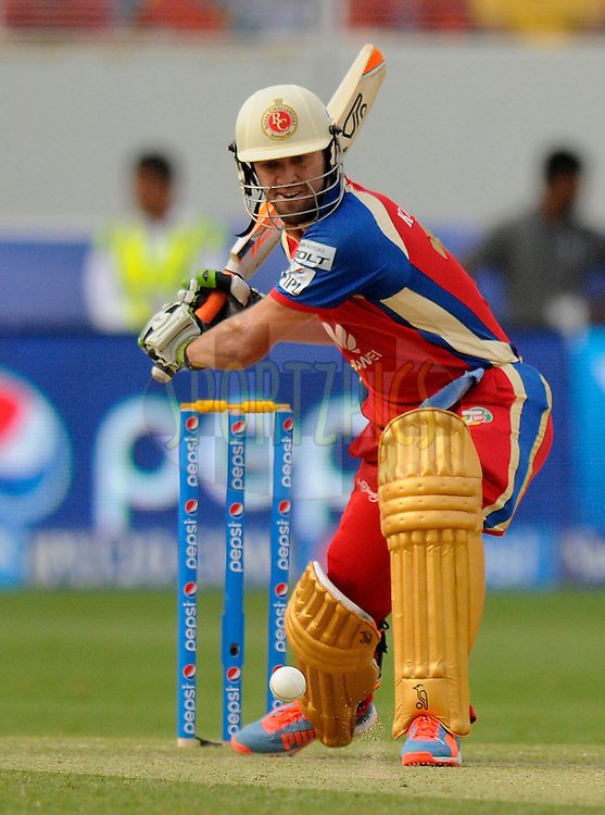 AB de Villiers of the Royal Challengers Bangalore bats during match 5 of the Pepsi Indian Premier League Season 7 between the Royal Challengers Bangalore and the Mumbai Indians held at the Dubai International Cricket Stadium, Dubai, United Arab Emirates on the 19th April 2014<br /> <br /> Photo by Pal Pillai / IPL / SPORTZPICS