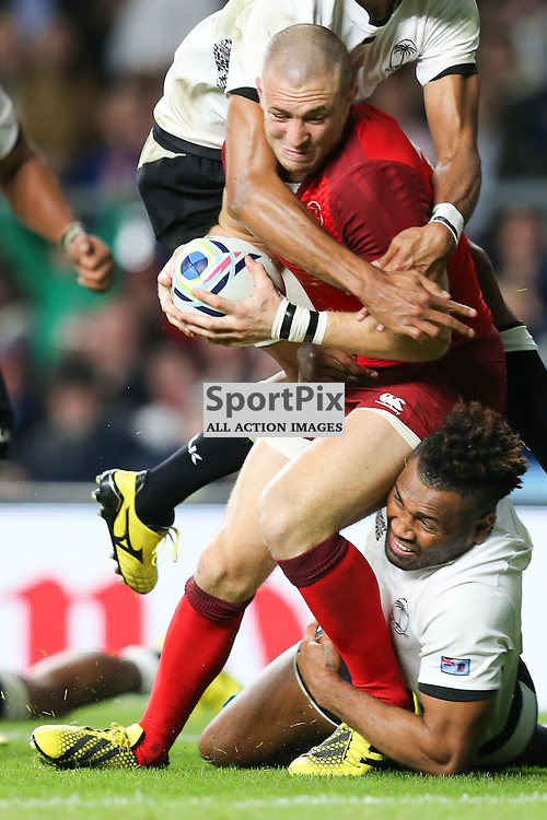 TWICKENHAM, ENGLAND - SEPTEMBER 18:  England's Fullback Mike Brown (15) before as dives for the try line during the opening game of the Rugby World Cup between England and Fiji at Twickenham on September 18, 2015 in London, England. (Credit: SAM TODD | SportPix.org.uk)