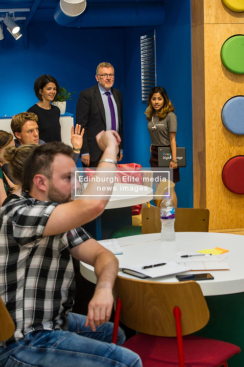 Pictured: David Mundell<br /> Scottish Secretary David Mundell visited a 'digital garage' in Edinburgh which trains people in digital skills. The Google Digital Garage, in Shandwick Place is a social responsibility outlet for the corporate giant<br /> <br /> Ger Harley | EEm 23 July 2018
