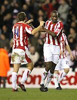 Photo: Paul Greenwood/Sportsbeat Images.<br />Stoke City v Norwich City. Coca Cola Championship. 01/12/2007.<br />Stoke's John Eustace,(L) and Leon Cort celebrate