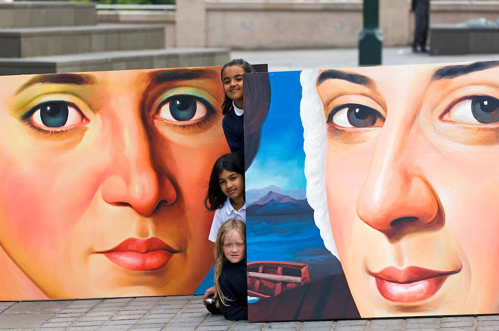 Bonnie Prince Charlie and Flora MacDonald get the Bollywood makeover on a giant billboard  presented by Edinburgh scchoolchildtren outside the Royal Scottish Academy building in Edinburgh for the 2006 Society of Scottish Artists' exhibition.<br />