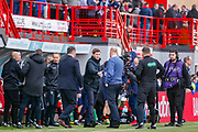 Its a wrap! Rangers Manager Steven Gerrard shakes hands with his opposite number at the end of the game at the Ladbrokes Scottish Premiership match between Hamilton Academical FC and Rangers at The Hope CBD Stadium, Hamilton, Scotland on 24 February 2019.