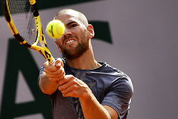 May 30, 2019 - Paris, France - France's Adrian Mannarino returns the ball to France's Gael Monfils during their men's singles second round match on day five of The Roland Garros 2019 French Open tennis tournament in Paris on May 30, 2019. (Credit Image: © Ibrahim Ezzat/NurPhoto via ZUMA Press)