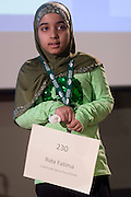 Rida Fatima of Cranbrook Elementary School introduces herself during the Columbus Metro Regional Spelling Bee Regional Saturday, March 16, 2013. The Regional Spelling Bee was sponsored by Ohio University's Scripps College of Communication and held in Margaret M. Walter Hall on OU's main campus.
