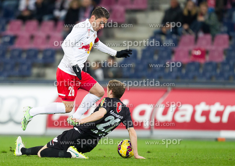 07.03.2015, Red Bull Arena, Salzburg, AUT, 1. FBL, FC Red Bull Salzburg vs SCR Cashpoint Altach, 24. Runde, im Bild v.l.: Jonatan Soriano (FC Red Bull Salzburg, #26), Lukas Jaeger, (SCR Altach, #22) // during Austrian Football Bundesliga 24th round Match between FC Red Bull Salzburg and SCR Cashpoint Altach at the Red Bull Arena, Salzburg, Austria on 2015/03/07. EXPA Pictures © 2015, PhotoCredit: EXPA/ JFK