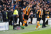 Hull City Midfielder Sam Clucas (11) celebrates with Hull City Defender Andrew Robertson (3)  as he scores a goal 2-0 during the Premier League match between Hull City and Watford at the KCOM Stadium, Kingston upon Hull, England on 22 April 2017. Photo by Craig Zadoroznyj.