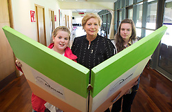 "Repro Free: 23/10/2013 Minister for Children and Youth Affairs, Frances Fitzgerald, T.D. is pictured with young people on the Youth Advocate Programme (YAP), Mary Robinson (11) from Bandon and Megan Hourican (16) from Douglas during the YAP national citizenship event,  ""I am a Citizen', in Croke Parke, celebrating the Year of the European Citizen. The young people carried out practical and innovative work on what it means to be a Citizen and as always have come up with creative ways that we can all become better Citizens of our community, school, workplace and wider society. Picture Andres Poveda"