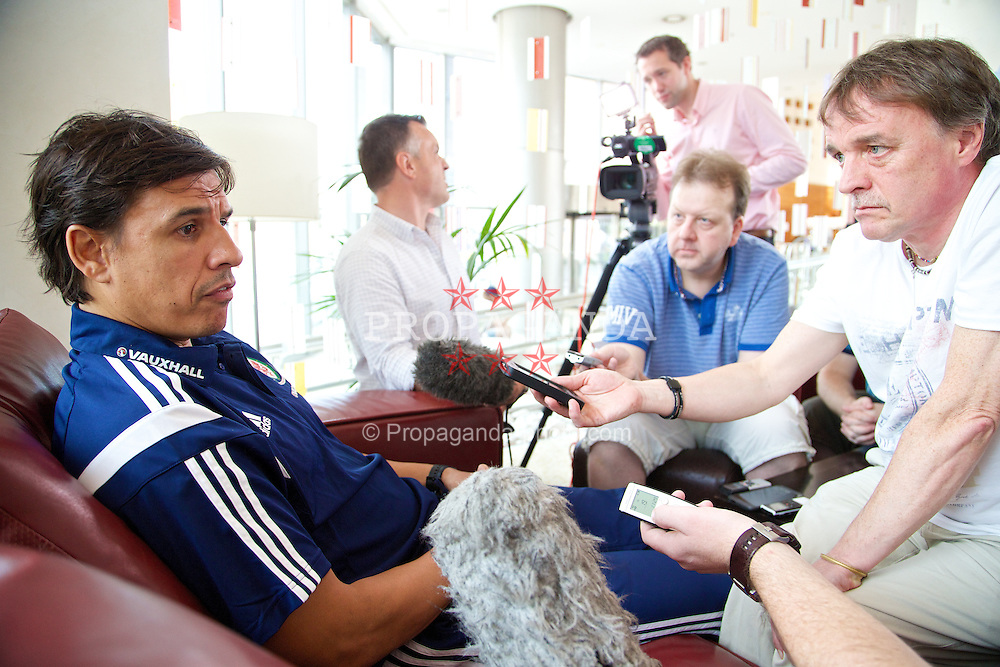 BARCELONA, SPAIN - Monday, September 8, 2014: Wales' manager Chris Coleman speaks to the press at the team hotel in Barcelona ahead of the opening UEFA Euro 2016 qualifying match against Andorra. (Pic by David Rawcliffe/Propaganda)