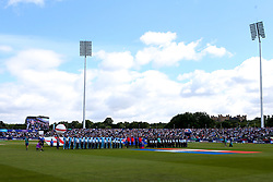 England and New Zealand line up for the national anthems - Mandatory by-line: Robbie Stephenson/JMP - 03/07/2019 - CRICKET - Emirates Riverside - Chester-le-Street, England - England v New Zealand - ICC Cricket World Cup 2019 - Group Stage