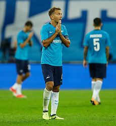 August 24, 2017 - Saint Petersburg, Russia - Domenico Criscito (C) of FC Zenit Saint Petersburg reacts during the UEFA Europa League play-off round second leg match between FC Zenit St. Petersburg and FC Utrecht at Saint Petersburg Stadium on August 24, 2017 in Saint Petersburg, Russia. (Credit Image: © Mike Kireev/NurPhoto via ZUMA Press)