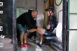 Emilia Fählin (SWE) of Wiggle Hi5 Cycling Team gets a final leg rub before Stage 2 of the Ladies Tour of Norway - a 140.4 km road race, between Sarpsborg and Fredrikstad on August 19, 2017, in Ostfold, Norway. (Photo by Balint Hamvas/Velofocus.com)