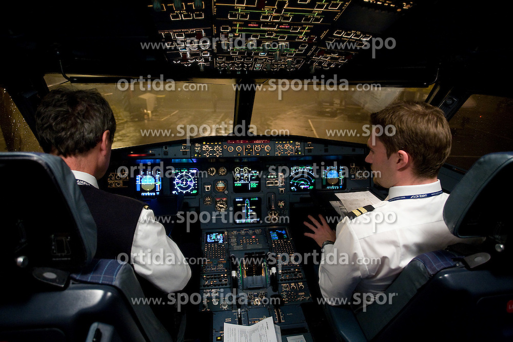 Pilots at airplane from Moscow to Maribor and Ljubljana after the FIFA World Cup South Africa 2010 Qualifying play-off match between Russia and Slovenia,  on November 14, 2009, in Moscow, Slovenia.   (Photo by Vid Ponikvar / Sportida)