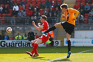 Adam Reach of Bradford City (right) shoots during the Sky Bet League 1 match at the Matchroom Stadium, London<br /> Picture by David Horn/Focus Images Ltd +44 7545 970036<br /> 29/03/2014