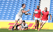 Bismarck Du Plessis lays the ball off during the South Africa Captain's Run training session in preparation for the Rugby World Cup at the American Express Community Stadium, Brighton and Hove, England on 18 September 2015.