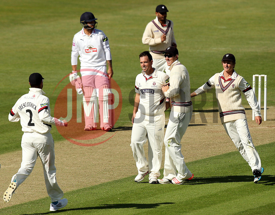 Somerset's Jim Allenby celebrates the wicket of Hampshire's Sean Ervine - Photo mandatory by-line: Robbie Stephenson/JMP - Mobile: 07966 386802 - 22/06/2015 - SPORT - Cricket - Southampton - The Ageas Bowl - Hampshire v Somerset - County Championship Division One