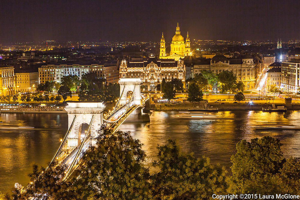 Chain Bridge and Cathedral, Budapest Hungary