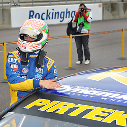 Winner, Andrew Jordan, British Pirtek Racing,(Honda Civic).<br /> Taken during Round 8 (Race 1) of the MSA British Touring Car Championship at the Rockingham Circuit, Northamptonshire on the 15th September 2013.<br /> WAYNE NEAL | SPORTPIX.ORG.UK