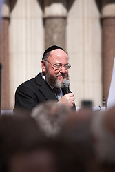 "Royal Courts of Justice, London,  August 31st 2014. Chief Rabbi  Ephraim Mervis speaks as thousands of Jews and their supporters from London and across the UK demand ""Zero Tolerance for Antisemites"", organised by the Campaign Against Antisemitism."
