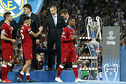(L-R) Dejan Lovren of Liverpool FC, Trent Alexander-Arnold of Liverpool FC, Georginio Wijnaldum of Liverpool FC during the UEFA Champions League final between Real Madrid and Liverpool on May 26, 2018 at NSC Olimpiyskiy Stadium in Kyiv, Ukraine
