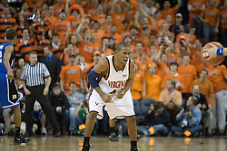 Virginia's Sean Singletary (44) gets motivated on a defensive set against Duke.  The University of Virginia Cavaliers beat the #8 ranked Duke University Blue Devils 68-66 in overtime at the John Paul Jones Arena in Charlottesville, VA on February 1, 2007...