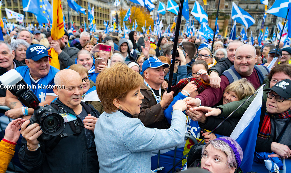 Scotland, UK. 2nd November 2019. Supporters of Scottish nationalism attend a rally in George Square Glasgow. The rally was organised by The National newspaper, the Scottish pro-Nationalism newspaper. First Minister Nicola Sturgeon addressed the rally.  Iain Masterton/Alamy Live News.