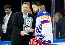 Rene Fasel, president of IIHF and Ilya Kovalchuk of Russia with a trophy for second place after Canada winning during Ice Hockey match between Canada and Russia at Final game of 2015 IIHF World Championship, on May 17, 2015 in O2 Arena, Prague, Czech Republic. Photo by Vid Ponikvar / Sportida