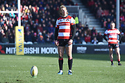 Gloucester centre / fly-half Billy Twelvetrees sets up to kick during the Aviva Premiership match between Gloucester Rugby and Wasps at the Kingsholm Stadium, Gloucester, United Kingdom on 24 February 2018. Picture by Alan Franklin.