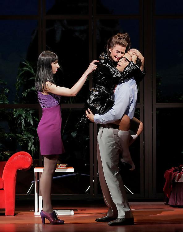 "Nikka Graff Lanzarone, Justin Guarini and Laura Benanti in .""WOMEN ON THE VERGE OF A NERVOUS BREAKDOWN"".Lincoln Center Theater Production.Credit photo: ©Paul Kolnik.paul@paulkolnik.com.nyc  212-362-7778"
