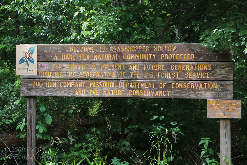 Welcome sign at Grasshopper Hollow, the largest, most significant fen complex in unglaciated North America; Reynolds, Missouri.