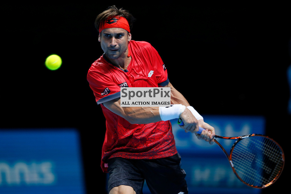 David Ferrer backhand responce during a match between Stan Wawrinka and David Ferrer at the ATP World Tour Finals 2015 at the O2 Arena, London.  on November 18, 2015 in London, England. (Credit: SAM TODD | SportPix.org.uk)