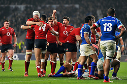 England players celebrate Mike Brown's second half try - Photo mandatory by-line: Patrick Khachfe/JMP - Mobile: 07966 386802 22/11/2014 - SPORT - RUGBY UNION - London - Twickenham Stadium - England v Samoa - QBE Internationals