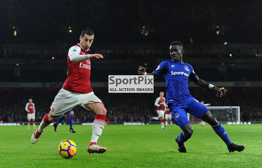 Henrikh Mkhitaryan of Arsenal crosses the ball under pressure from Idrissa Gueye of Everton during Arsenal vs Everton, Premier League, 03.02.18 (c) Harriet Lander | SportPix.org.uk