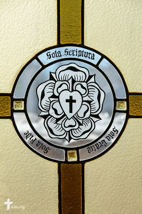 Stained glass of the Luther Seal on Friday, Jan. 29, 2016, at Immanuel Lutheran Church in Sheboygan, Wis. LCMS Communications/Erik M. Lunsford