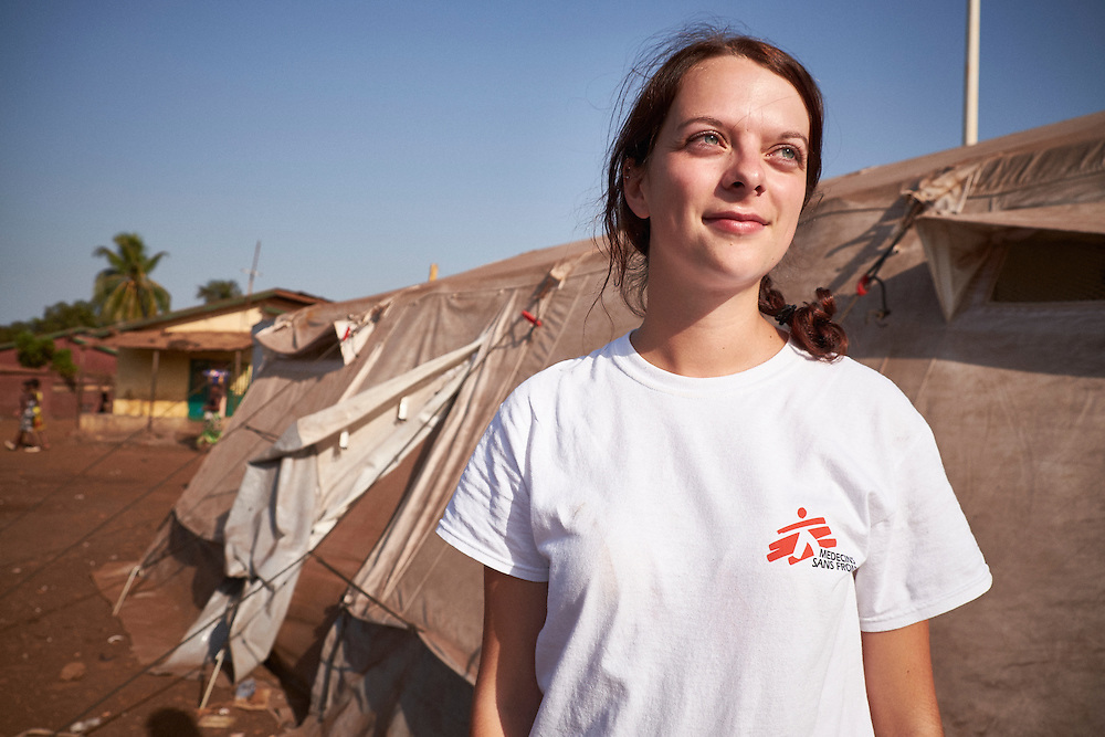 MSF Health Promotion Manager Laurelie Di Filippantonio at the MSF mobile clinic in the neighbourhood of Dapompa, Conakry, Guinea on March 18, 2016. MSF launched a HIV testing campaign in Conakry with the support of health authorities moving throughout several neighbourhoods throughout 2016.<br /> <br /> &quot;It's the firs time MSF is doing this type of campaign for the general population and key population groups who are higher risk such as sex workers, gay men, transgenders, drug users and prisoners. More specifically in Guinea the high risk group includes soldiers, truck drivers and fishermen. There is a lot of stigmatisation surrounding HIV in Guinea so community health workers are engaged with the population undertaking awareness programs on HIV transmission and treatment. The community aspect is priority, it's very important to engage with community leaders from the beginning to reach the population.&quot;<br /> <br /> Despite countries in West and Central Africa having a relatively low HIV prevalence (