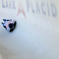28 February 2007:  Anthony Sawyer of Great Britain in turn 18 the 3rd run at the Men's Skeleton World Championships competition on February 28 at the Olympic Sports Complex in Lake Placid, NY.