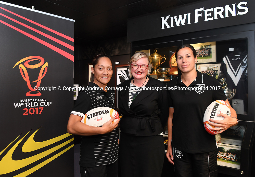 Kiwi Ferns captain Sarina Fiso (L) and teammate Sharlene Atai with Rugby League World Cup 2017 General Manager of New Zealand Andrea Nelson (C) promoting the Women's Rugby League World Cup. Auckland, New Zealand. Wednesday 2 August 2017. © COPYRIGHT PHOTO: ANDREW CORNAGA / WWW.PHOTOSPORT.NZ